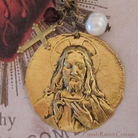 JESUS NECKLACE & Mini CROSS Charm, Heart Bead, Genuine Pearl / Christian Religious Jewelry / Catholic Gift / Jesus Necklace Pendant w Charms