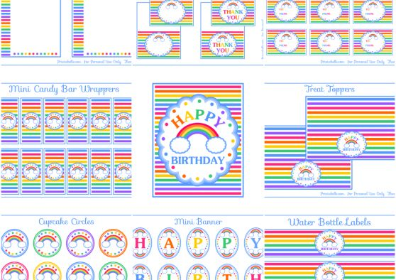 FREE RAINBOW PARTY PRINTABLES! Plus hundreds more on the website.