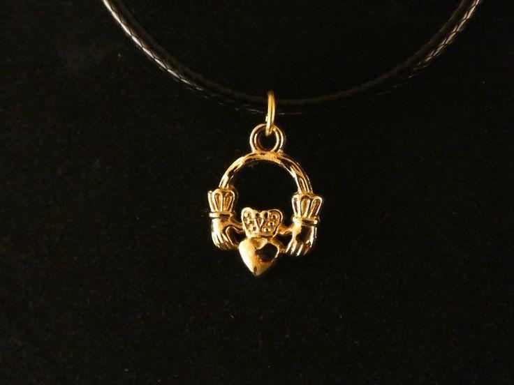 Herz Krone Anhänger mit Kette 24 Karat Vergoldet Hände Krone Liebe Love Charm