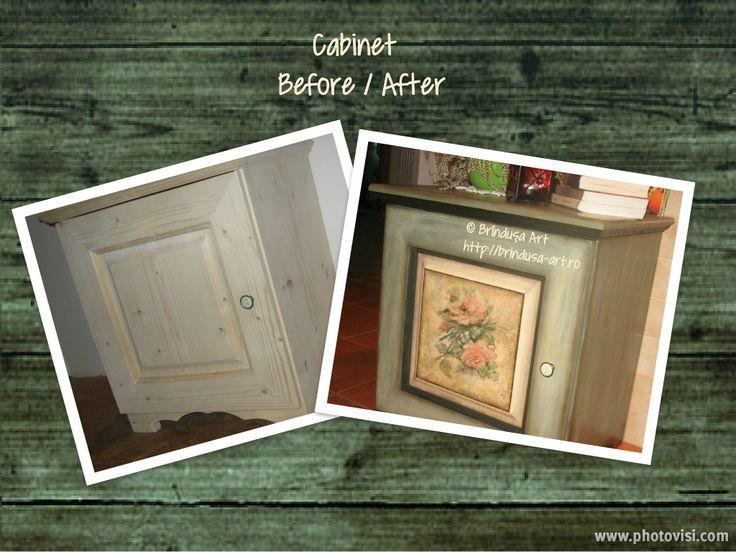 Brîndușa Art Before and after: painted cabinet - unique. Shabby roses. Înainte şi după: dulăpior pictat - unicat. Trandafiri shabby. #paintedfurniture #vintage #roses