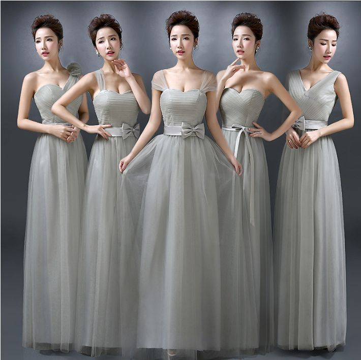 2015 new fashion long grey one shoulder floor length bridesmaid dress sexy teen pretty maids dresses for wedding party W2690