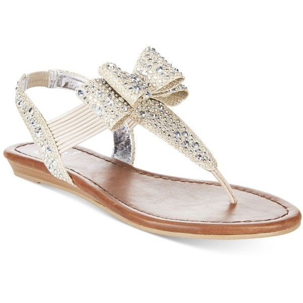 Material Girl Shayleen Flat Thong Sandals, ($50) ❤ liked on Polyvore featuring shoes, sandals, silver, flat sandals, rhinestone shoes, bow thong sandals, bow shoes and rhinestone thong sandals