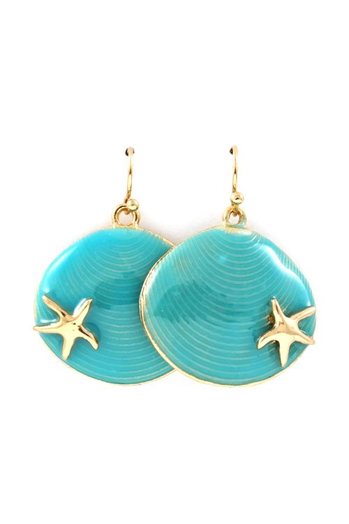 Shell Dangles in Turquoise Wash