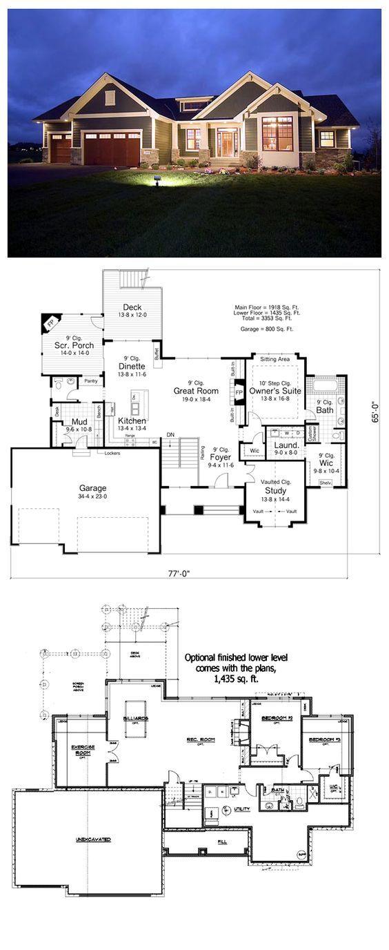 House Plan 42505 | Total living area: 1918 sq ft, 2 bedrooms & 1.5 bathrooms. #craftsman #houseplan