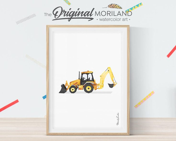 Backhoe Loader, Digger Print, Construction Art Print, Toddler Boy Room Decor, Transportation Wall Decor, Truck Print, Birthday Printable by MORILAND on Etsy