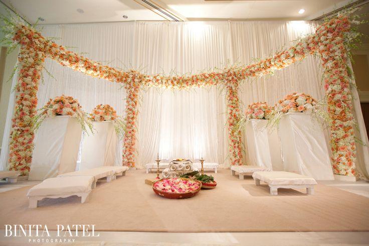 Peach Coral Floral Mandap, Floral Mandap, Open Style ...