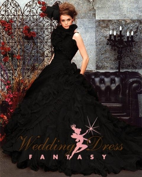Wedding Dress Fantasy - Black Wedding Gown Available in Every Color #gothic