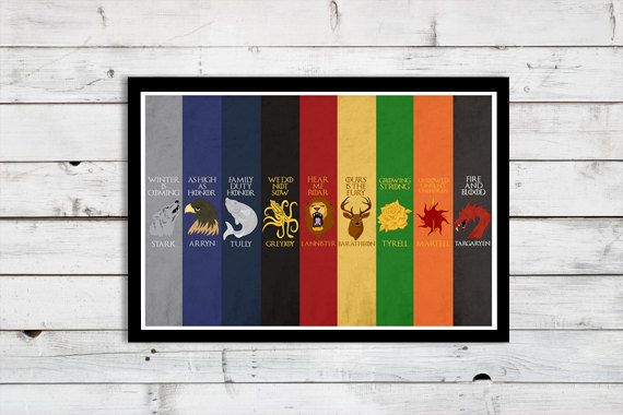 Game of Thrones - Main Houses NEW VERSION - A3 Modern Retro Vintage GoT House Sigil Stark Lannister Character Nine Typography Art Print