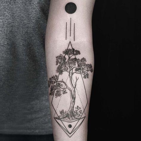 Solar Eclipse / Güneş Tutulması black tattoo ink tree abstract