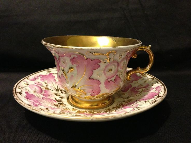 Meissen pink and gold gilt embossed floral large cup and saucer set circa 1815