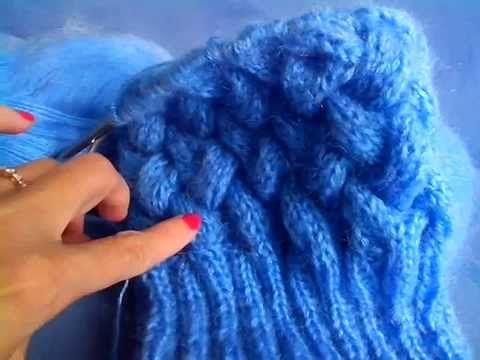 Шапка с косами, с двумя отворотами ( плетенка).... - YouTube