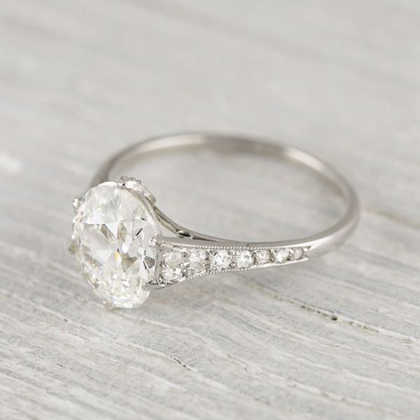 Fancy  Carat Vintage Cushion Cut Engagement Ring New York Vintage u Antique Engagement Rings and