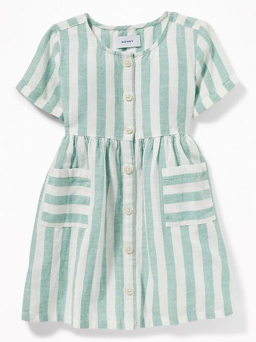 2d2ba140b87 Striped Waist-Defined Shirt Dress for Toddler Girls