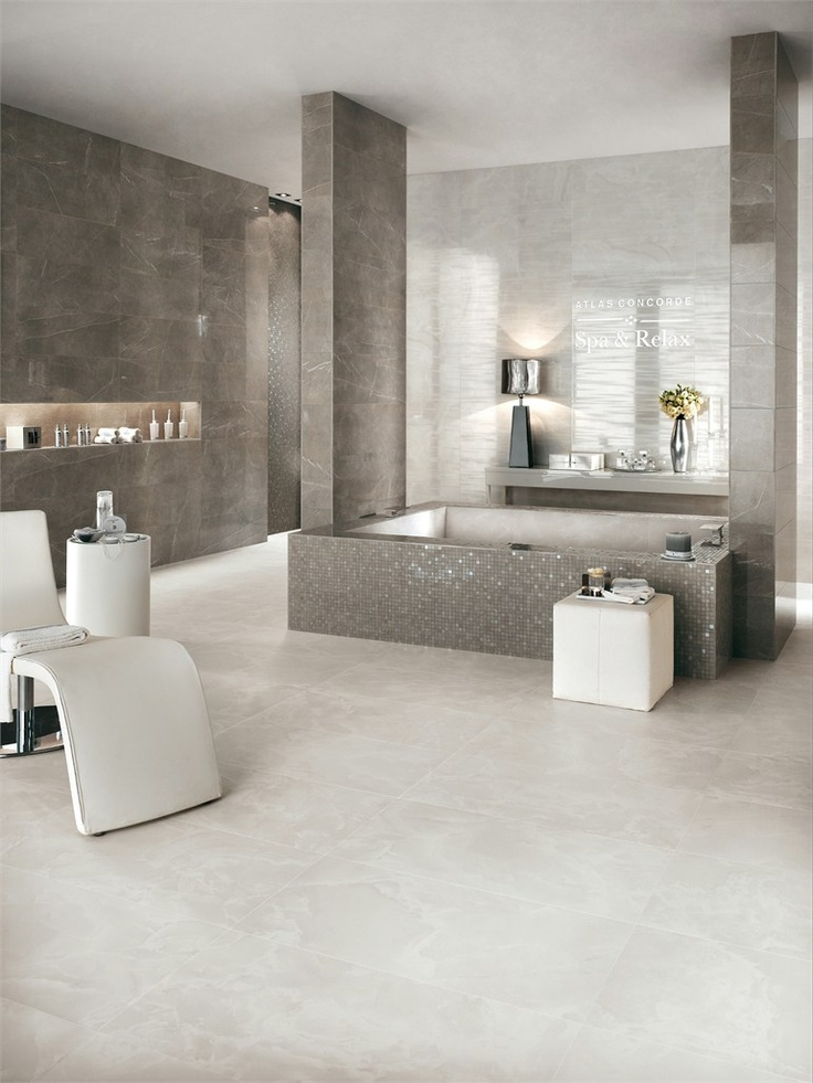 White-paste wall tiles with marble effect MARVEL by Ceramiche Atlas Concorde #marble #bathroom #grey