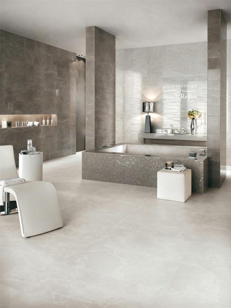 White-paste wall tiles with marble effect MARVEL by Ceramiche Atlas Concorde #marble #bathroom #grey @Atlas Concorde