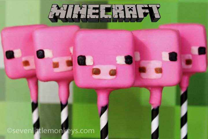 Minecraft Pig Cake Pops