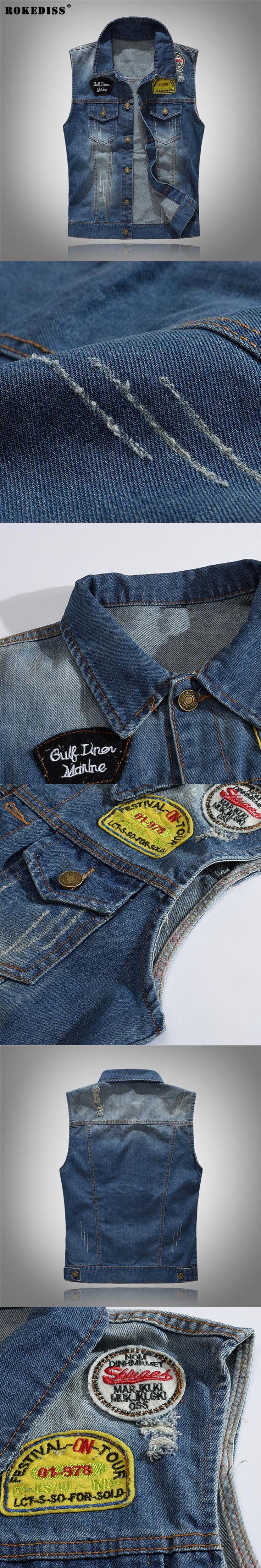 ROKEDISS 2017 Fashion Mens Motorcycle Jean Vest Dark Blue badge Washed Slim Fit Sleeveless Denim Jacket For Men W110