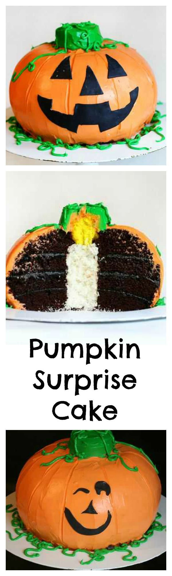 This fun pumpkin shaped cake has the perfect Halloween surprise hiding inside: when you cut into it, you'll see a candle!