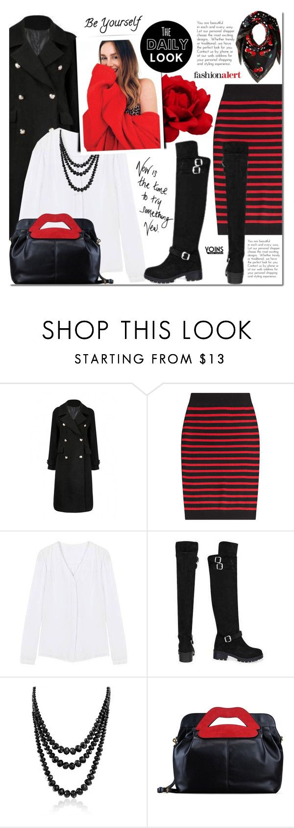 """Black and red with Yoins"" by mada-malureanu ❤ liked on Polyvore featuring Marc by Marc Jacobs, Bling Jewelry and RED Valentino"