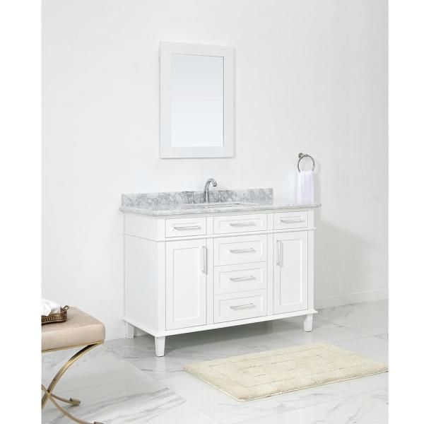 Home Decorators Collection Sonoma 48 In W X 22 In D Vanity In White With Carrara Marble Top With White Sinks Sonoma 48w The Home Depot Bathroom Vanity Bathroom Vanity Tops White Sink