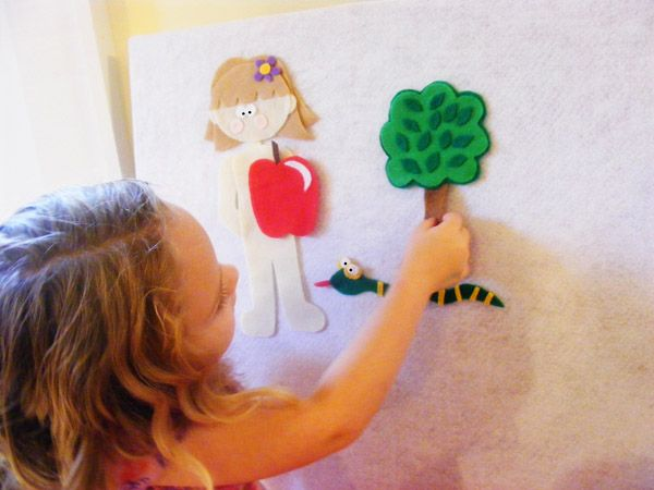 FREE felt board templates and tutorial - adam and  eve and Jonah so far.