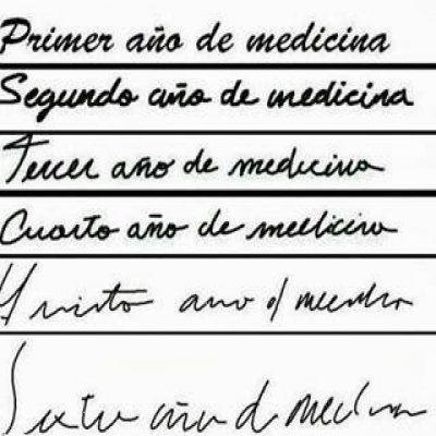 La evolución de la caligrafía de un estudiante de medicina durante la carrera