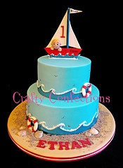 maybe.. its just a blue cake with waves in the bottom, them its just to put accessories on it. hummm
