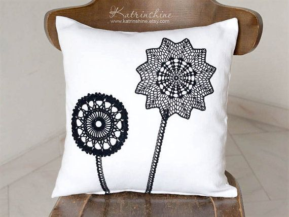 White and black Pillow Cover With Crocheted Doily Applique OOAK decorative accent cushion