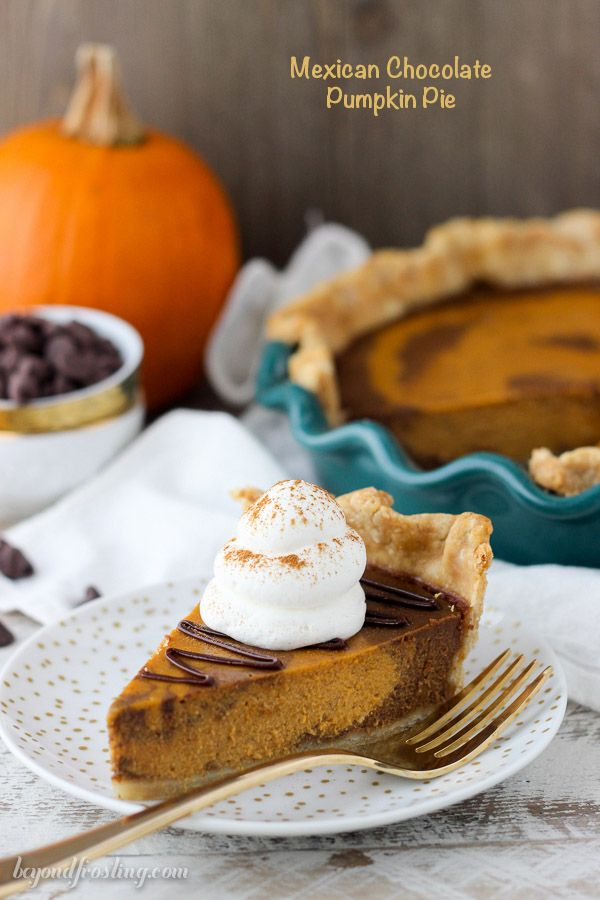 ... Pie is a marbled pumpkin chocolate pie with Mexican spice and a spiced