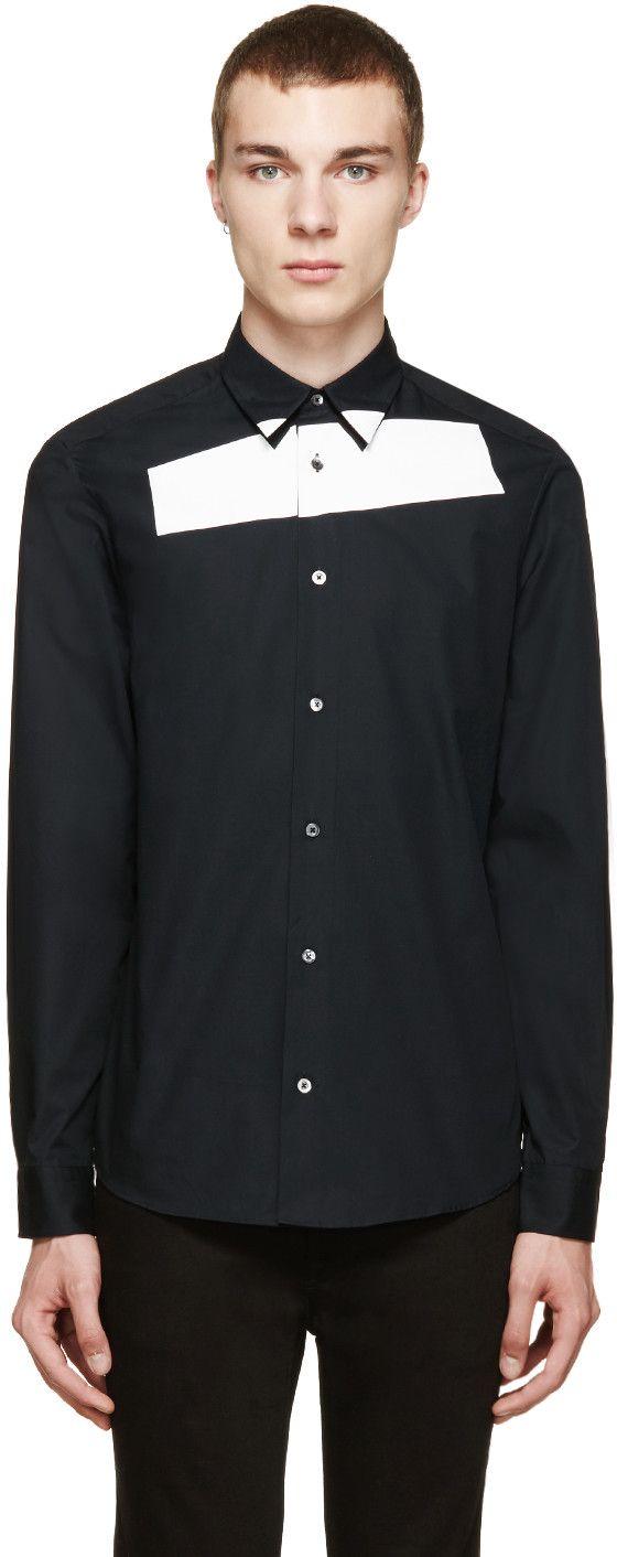 McQ Alexander McQueen: Black & White Tape Shirt   SSENSE