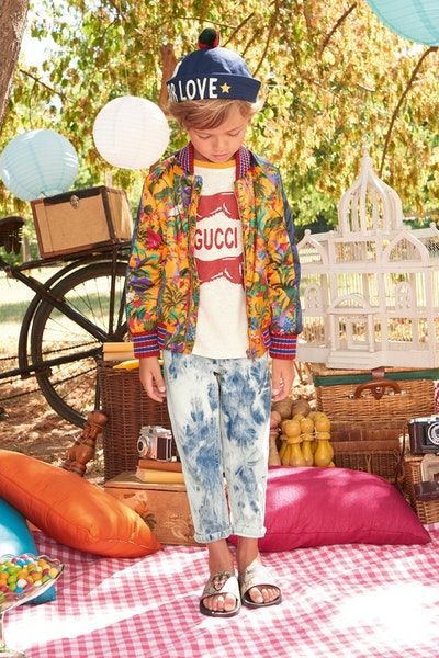 1da15a14a41 Gucci spring summer 2018 kids children fashion designer collection range  ice cream candy jackets blazers red green band stripe web