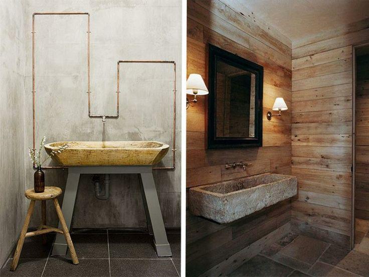 lavabos rusticos banos piedra pared madera ideas