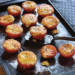 Fresh tomatoes broiled in the oven and topped with cheese? Um… yes please!!! #hellmanns