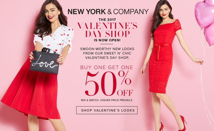 Online Only! Valentines Day Shop! Buy One Get One 50% #Off Mix & Match.  Store : #NewYork&Company Scope: Entire Store  Ends On : 01/25/2017    Get more deals: http://www.geoqpons.com/New-York-&-Company-coupon-codes  Get our Android mobile App: https://play.google.com/store/apps/details?id=com.mm.views    Get our iOS mobile App: https://itunes.apple.com/us/app/geoqpons-local-coupons-discounts/id397729759?mt=8
