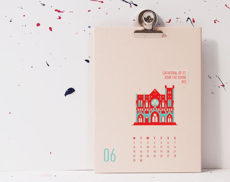 Buildings Of New York City - Cathedral Of St. John The Divine, mmmMAR Illustrated and hand screened by Marieken Hensen, Calendar 2015