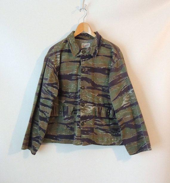 Men's Camo Jacket / Winchester Trailblazer Sportswear / Camouflage Hunting Jacket / 70s Distressed Hunt Jacket / Green & Brown Camo / Medium on Etsy, $42.00