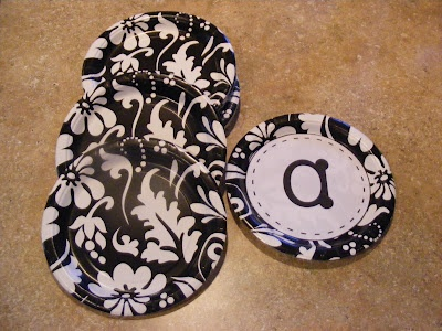 Letters on plates--would be cute for the word wall!