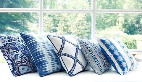 Beautiful blue hues from our new Trade Routes collection! Featured from left to right: Cochin, Ikat Stripe, Majuli Embroidery, Fair Isle, and Sri Lanka Embroidery. Thibaut design