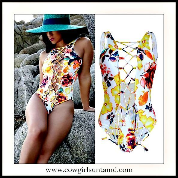 SEXY COWGIRL SWIMSUIT Lace Up Floral Low Back Padded One Piece  #onepiece #swimsuit #swimwear #bikini #beachwear #floral #cowgirl #fashionista #laceup #openback #lowback #corset #beautiful #womens #fashion #clothing #nails #wholesale #boutique #onlineshopping #yellow