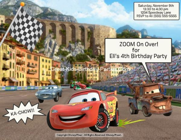 free fun cars invitations - Free Disney Games For 4 Year Olds