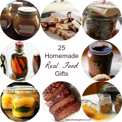 25 Homemade Real Food Gifts. Simple, yummy, healthy and budget friendly. Try your hand at making some whole food treats for gifts this Christmas.