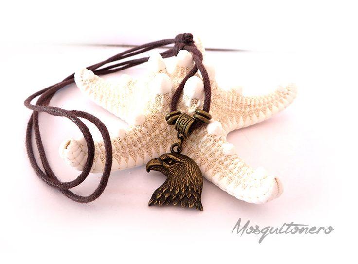 Collana Aquila ciondolo in bronzo simbologia animale cordino in cotone cerato, by Mosquitonero Shop, 8,90 € su misshobby.com