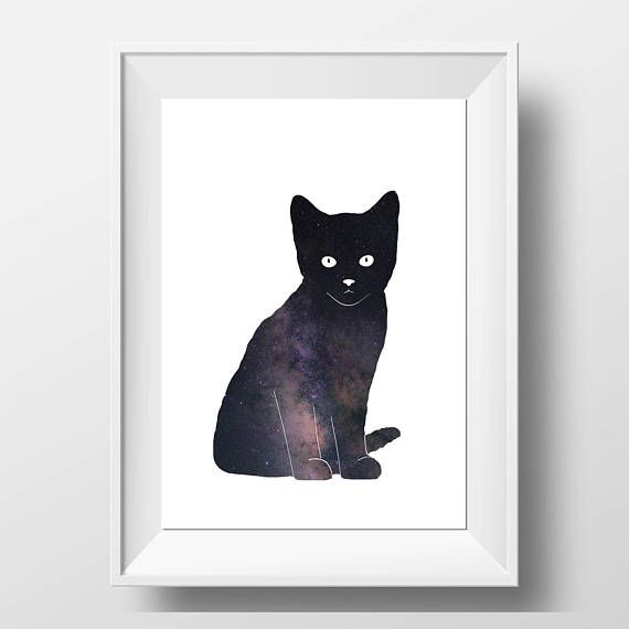 Check out this item in my Etsy shop https://www.etsy.com/uk/listing/572628125/cat-print-galaxy-cat-black-cat-cat-wall