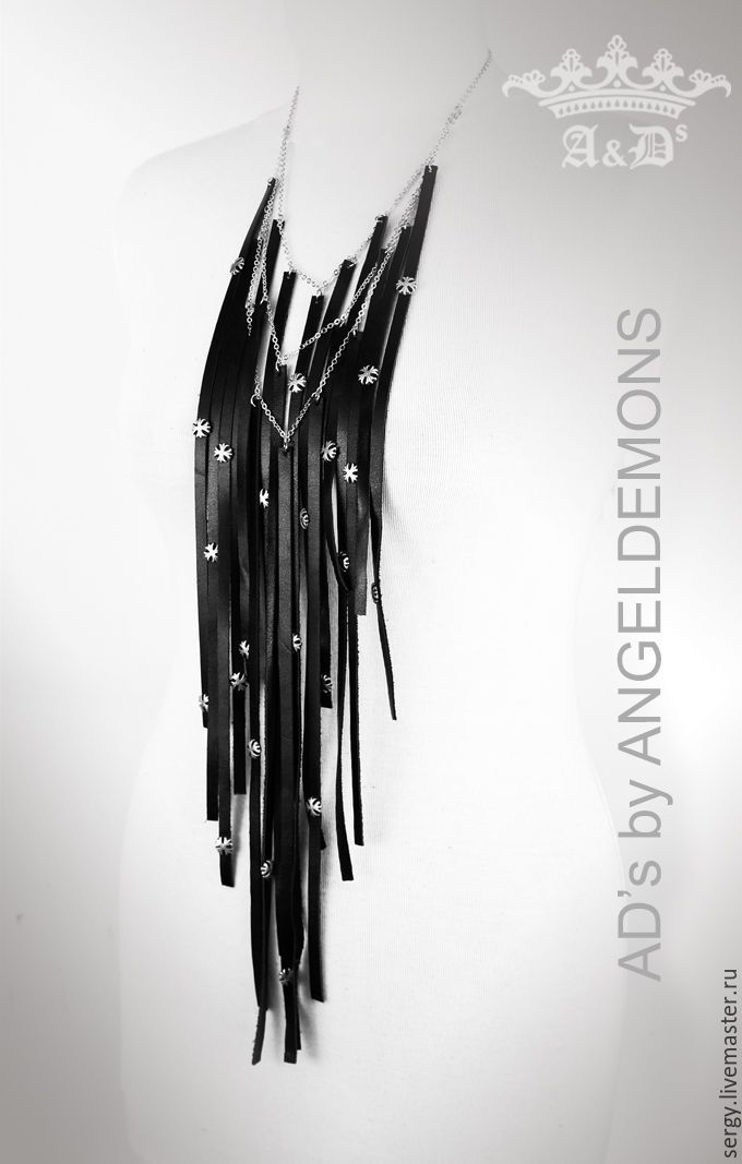 Купить Колье Black Lily Line - черный, колье, бусы, колье ручной работы