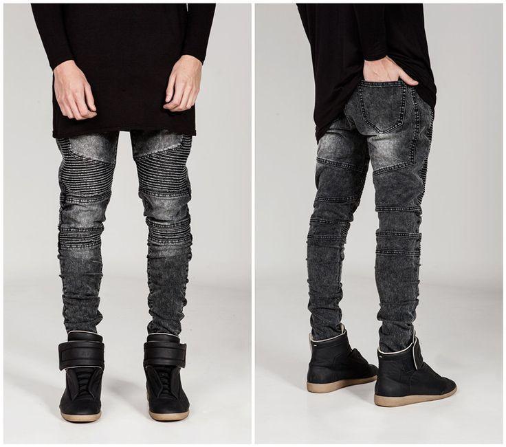 Hi-Street Mens Ripped Rider Biker Jeans Motorcycle Slim Fit Washed Black Grey Blue Moto Denim Pants Joggers For Skinny Men AY724