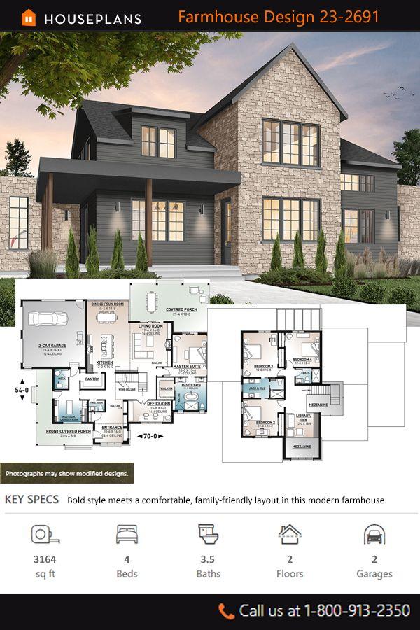 Farmhouse Style House Plan 4 Beds 3 5 Baths 3164 Sq Ft Plan 23 2691 In 2020 Modern Farmhouse Plans Farmhouse Style House Plans Farmhouse Exterior