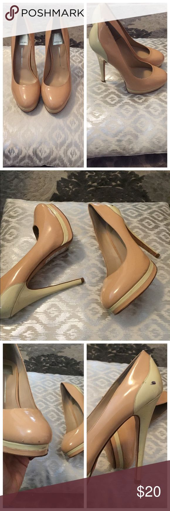 Dolce vita 2 tone nude high heels Platform high nude heels. Fell in love with these and sale price at saks off 5th outlet. Got the 8 bc they didn't have 81/2 and too small. Only worn once out of house. Slight imperfections shown in photo why priced so aggressively. Dolce Vita Shoes Heels