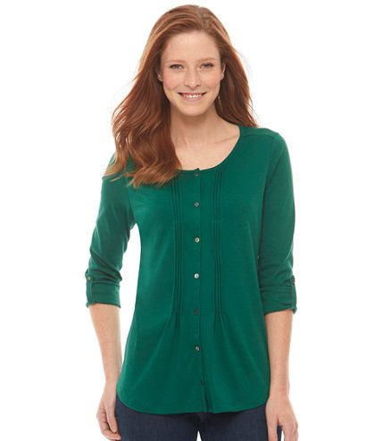 Pima Button-Front Pin-Tucked Top, Long-Sleeve: Casual | Free Shipping at L.L.Bean