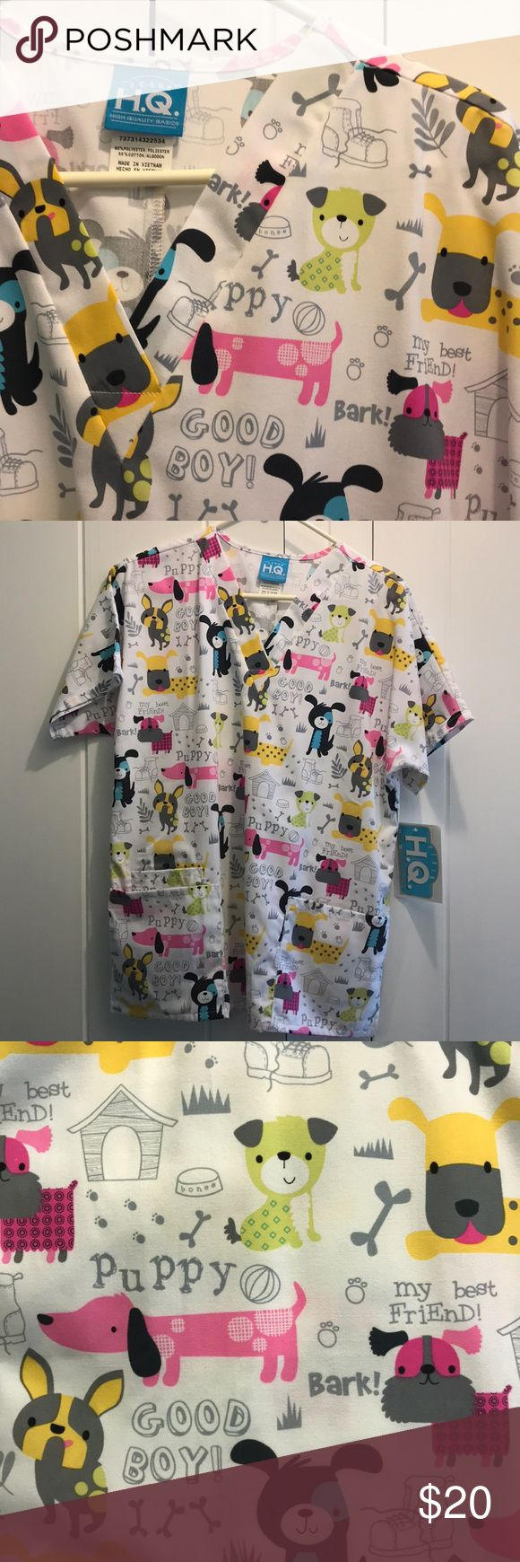 H.Q Cherokee brand scrub top size small NWT. Never worn. Adorable puppy print scrub top in size small. Cherokee Tops