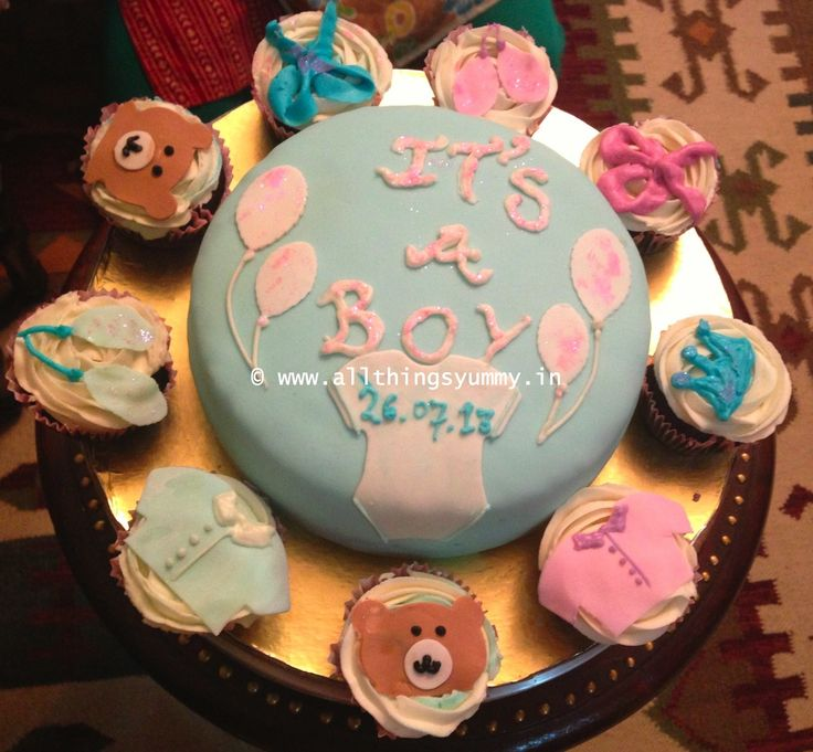 Baby Shower Cakes and Cupcakes - Chocolate Fudge Eggless Cake with Chocolate Buttercream and Blue Fondant Cake Decor for a Baby Boy | All Things Yummy #allthingsyummy #babyshower #cake #chocolate